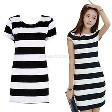 Fashion Women Short Sleeve Backless Bowknot Mini Casual Striped Party Dress A63
