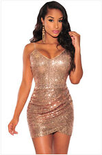 Women Sequins Spaghetti Strap V-neck Irregular Hem Sexy Package Hip Dress