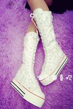 Womens Platform Creeper Lace Up Sneakers Canvas Hot Floral Knee High Boots Shoes