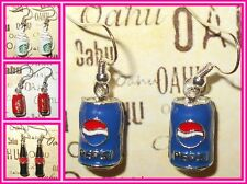 COKE PEPSI Soft Drink Can Bottle Gold Silver Plated Dangle Earrings Retro Funky