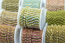 Roll of SS16 Colour Crystal Rhinestone Chain Trims Brass 8.5 meters