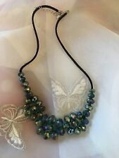 """Beautiful Vintage Glass Beaded Necklace Shimmering Emerald Glass Bead Detail 20"""""""