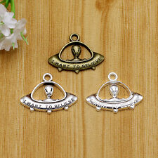 10/100pc Tibet silver I Want To Believe Words alien UFO Pendant Charms 23x30 mm
