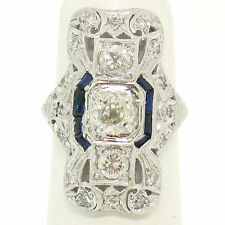 Antique Art Deco Platinum 1.60ctw Old Cut Diamond Long Open Filigree Dinner Ring