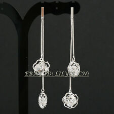 Rhinestone Rose Flower Crystal Drop Dangle Earrings 18KGP