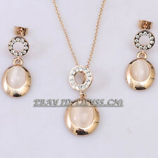 A1-S025 Fashion Opal Earrings Necklace Jewelry Set 18KGP Rhinestone Crystal