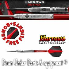 Harrows 23g Retina Steel Tip Darts - 95% Tungsten PLUS BONUS FREE FLIGHTS