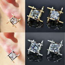 1 Pair Gold Silver Charming Hollow Zircon Ear Studs Earring Chunky Jewelry