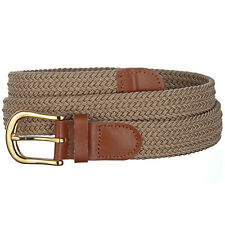 "Braided Elastic Stretch Golf Belt | Leather Covered Buckles | 1.25"" Wide-"