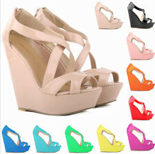 Platform Wedges Womens Patent Leather Peep Toe High-heeled Sandals Pumps Shoes