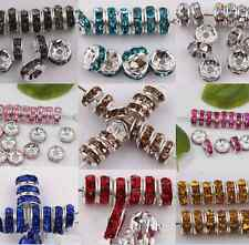 50Pcs/Set Silver Plated Czech Crystal Spacer Rondelle Beads Charm Findings 8mm