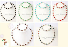 Natural 7-8mm Freshwater Pearl&8mm Jade Agate Gemstone Beads Necklace Bracelet
