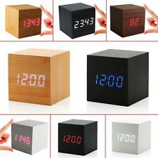 LED Sound Control Digital USB Wooden Cube Desk Thermometer Timer Alarm Clock NEW
