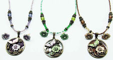 ICON GOLD GREEN PURPLE CRYSTAL ENAMEL BUTTERFLY NECKLACE BRONZE JEWELRY SET NEW