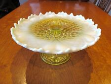 Antique Davidson Primrose Pearline Glass Tazza/Cake Stand