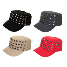 Adjustable Cotton Military Style Studded Front Army Cap Cadet Hat - Diff Colors