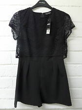 Womens Ladies New Sexy Black Half Crochet Lace Pleated Shorts/Play suit UK 6-12
