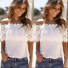 Womens Off Shoulder Blouse White Lace Splicing Sexy Tops Chiffon Patchwork Shirt