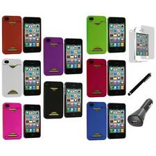 Credit Card ID Hard Rubberized Cover Case+LCD+Charger+Pen for iPhone 4S 4G 4