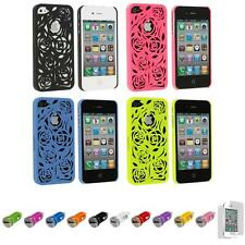 For iPhone 4 4S Rose Carving Flower Hard Case Cover+Car Charger+LCD