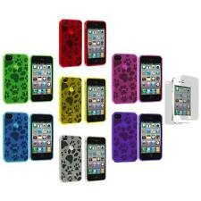 TPU Dog Paw Print Color Rubber Cover Case+Screen Protector for iPhone 4S 4G 4