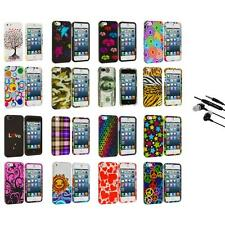 Colorful Design Hard Snap-On Rubberized Case Cover+Earphone Mic for iPhone 5 5S