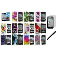 Flower Design Case Cover Accessory+LCD Film+Stylus for iPod Touch 4th Gen 4G 4