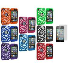 Hybrid Zebra Deluxe Case Cover+LCD+3X LCD Protector for iPod Touch 4th Gen 4G 4