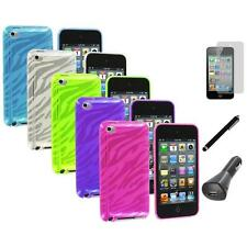 TPU Zebra Rubber Skin Case Cover+LCD+Charger+Pen for iPod Touch 4th Gen 4G 4