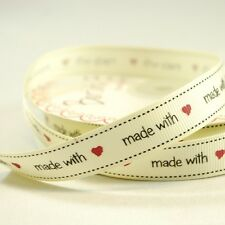 16mm Bertie's Bows Made With Love Grosgrain Heart Craft Ribbon