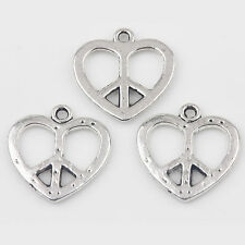10/20Pcs Heart-shaped Carved Tibetan Silver Charms Pendants Crafts DIY 19*18mm