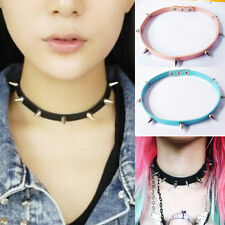 Gift Sexy Harajuku Handmade Faux Leather Spikes Stud Rock Collar Choker Necklace