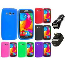 For Samsung Galaxy Avant G386 Silicone Rubber Case Cover 2X 2A Chargers
