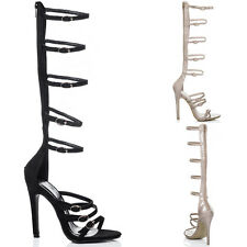 Womens Knee High High Heel Stiletto Gladiator Sandals Shoes Sz 5-10