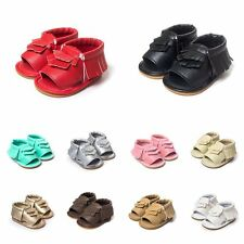 0-18M Baby Soft Sole Crib Shoes Leather Shoes Toddler Girl Tassel Moccasin BB