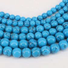 1 String Blue Turquoise Round Loose Spacer Charm Beads 4-12mm Jewelry Finding