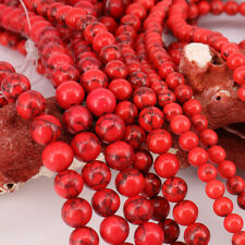 15 Inches Red Turquoise Loose Spacer Beads Charm Bracelet Making 4/6/8/10/12mm