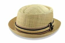Scala Straw Porkpie Hat Fedora Trilby Raffia Stingy Brim M L XL New Mens