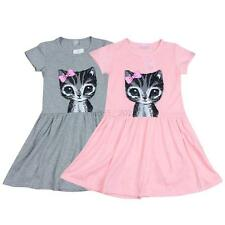 Toddler Baby Girl Kid Princess Casual Party Cat Print Summer Shirt Dress Clothes