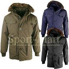 Mens Padded Fur Lined Hood Parka Jacket Winter Hooded Vintage Retro Coat