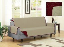 MICROFIBER PET COUCH SOFA FURNITURE PROTECTOR COVER, REVERSIBLE BEIGE / BURGUNDY