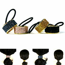 Punk Rock Party Glitter Metal Hair Cuff Ponytail Holder Tie Band Accessory Women