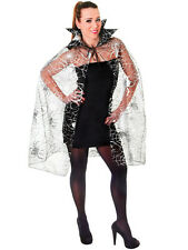 Ladies Silver Spider Web Witch Horror Halloween Fancy Dress Costume Cape New