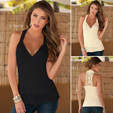 Womens Ladies Sexy Plunge V Neck Sleeveless Lace Backless Draped Vest Crop Tops