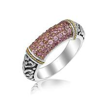 Rhodium Plated Sterling Silver Pink Amethyst Scrollwork Ring