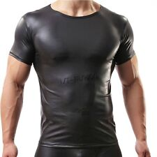 Mens Patent Leather Underwear Sexy Muscle Short Tops T-Shirt Undershirt S M L XL