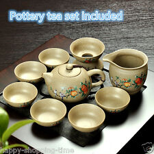 Chinese pottery tea set service tea brew ceramic tea pot cup peach floral filter