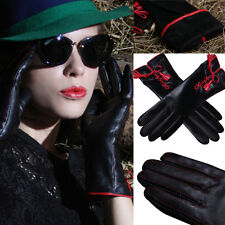 Women Genuine Leather Touch Screen Winter Warm Nappa Lambskin Full Finger Gloves