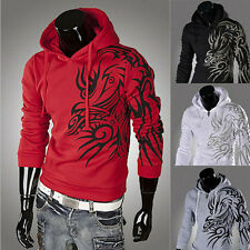 Hot Men's Cotton Blend Dragon Pattern Slim Soft Hoodies Sweater Jacket Coat