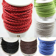 Hot 5/20yds Soild Hand-Woven Leather Cord Necklace Bracelet Jewelry Findings 3mm